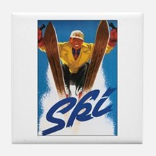 Ski Skiing Tile Coaster
