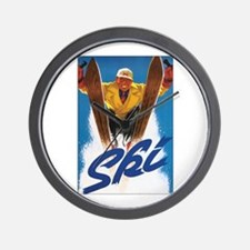 Ski Skiing Wall Clock