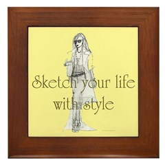 Sketch your life in style Framed Tile