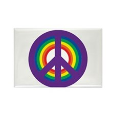 Rainbow Peace Sign - Rectangle Magnet
