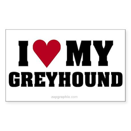 Love My Greyhound Sticker (Rect)