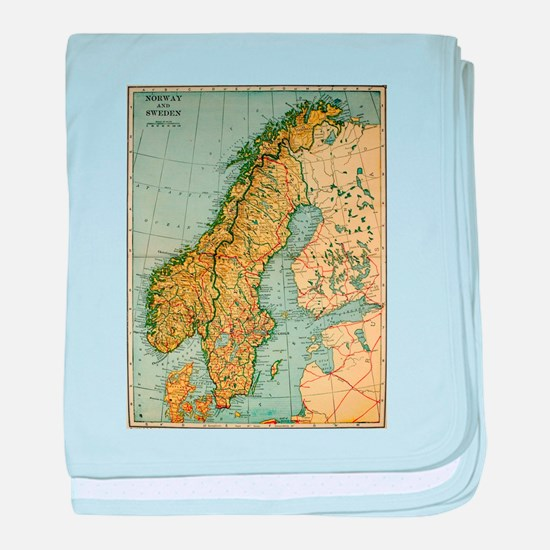 Vintage Map of Norway and Sweden (192 baby blanket