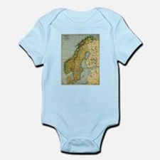 Vintage Map of Norway and Sweden (1921) Body Suit