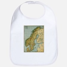 Vintage Map of Norway and Sweden (1921) Baby Bib