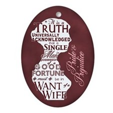 Jane Austen Oval Ornament (Ceramic)