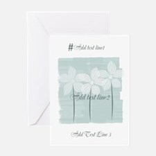 Add Text White Flowers Mint Greeting Cards