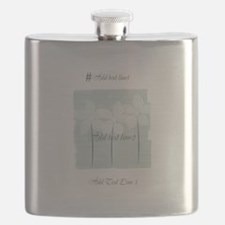 Add Text White Flowers Mint Flask