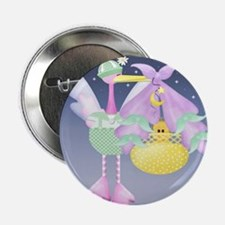 Stork New Baby Announcement Button