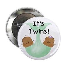 Twins African American Baby Button