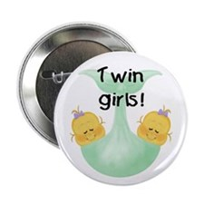 Twin Girls White Baby Button