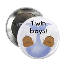 "Twin Boys African American 2.25"" Button (10 pack)"