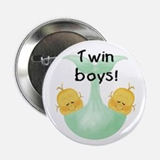 Twin Boys White Baby Announement Button