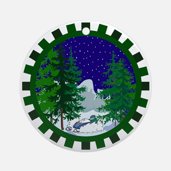 Winter Snowmobile Christmas Ornament (Round)
