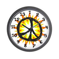 Flaming Peace 13 hour Wall Clock