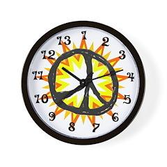 Flaming Peace 13 hour Wall Clock