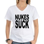 Nukes Suck Women's V-Neck T-Shirt