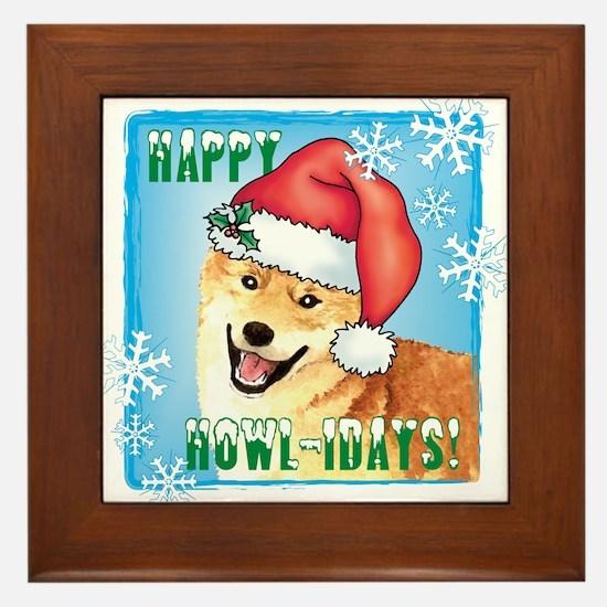 Holiday Shiba Inu Framed Tile