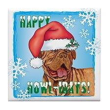 Holiday Dogue de Bordeaux Tile Coaster