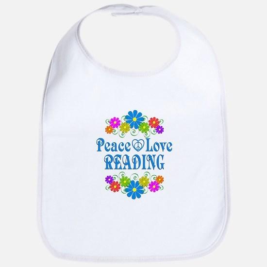 Peace Love Reading Cotton Baby Bib