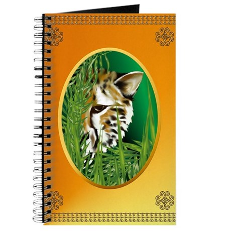 Cheetah Face in oval frame Journal