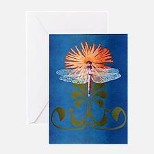 Dragonfly Flower Greeting Card