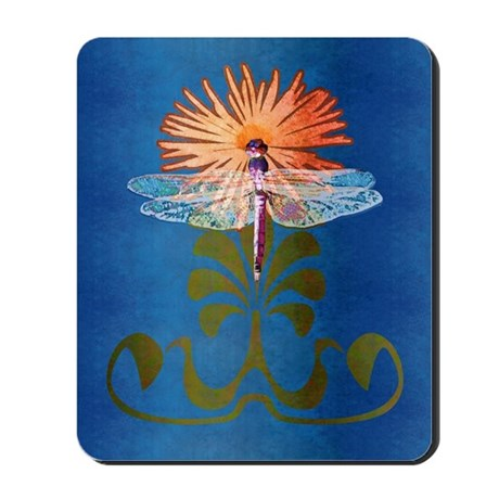 Dragonfly Flower Mousepad