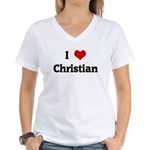 I Love Christian Women's V-Neck T-Shirt