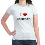 I Love Christian Jr. Ringer T-Shirt