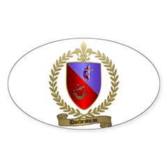DUCHESNEAU Family Crest Oval Decal