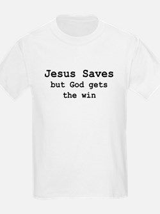 """Jesus saves, but God"" Kids T-Shirt"