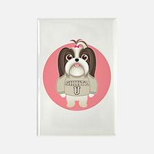 SHIHTZ U. Girl Dog Rectangle Magnet