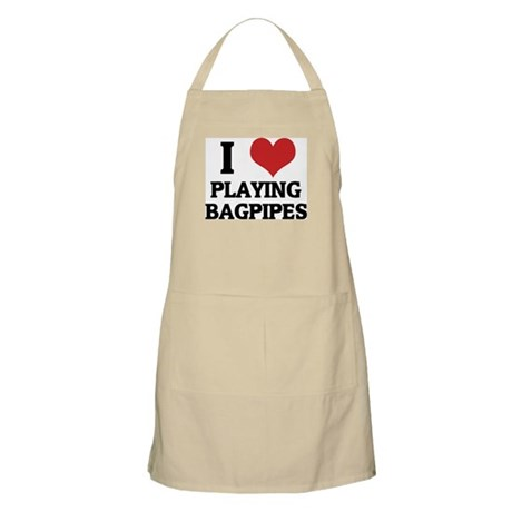 I Love Playing Bagpipes BBQ Apron