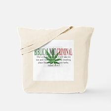 Biblical Not Criminal Tote Bag