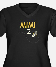 Mimi to Be (Bee) Women's Plus Size V-Neck Dark T-S
