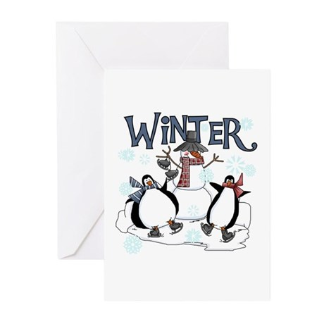 Penguins and Snowman Winter Greeting Cards (Pk of