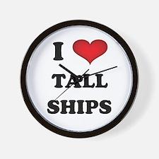 I Love Tall Ships Wall Clock