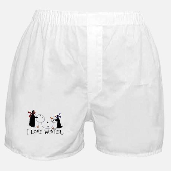 Penguins Love Winter Boxer Shorts