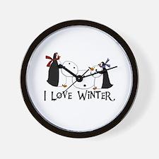 Penguins Love Winter Wall Clock