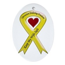 Military wife yellow ribbon OEF Keepsake (Oval)