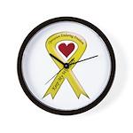 Military wife yellow ribbon OEF Wall Clock