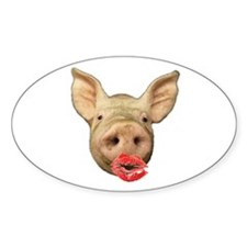 pigs with lipstick Oval Decal