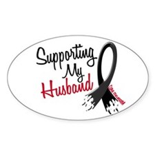 Supporting My Husband MELANOMA Oval Decal