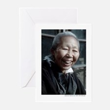 Old Japanese woman with gold tooth Greeting Cards