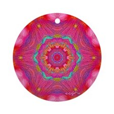 Pink Crystal Mandala Ornament (Round)