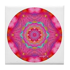 Pink Crystal Mandala Tile Coaster