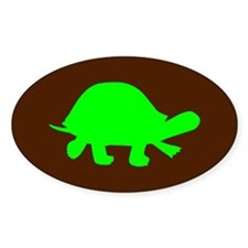 Brown/Green Turtle Lover Oval Decal