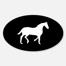 Black/White Horse Lover Oval Decal
