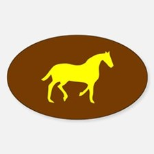 Brown/Yellow Horse Lover Oval Decal