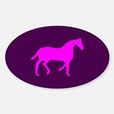Purple/Pink Horse Lover Oval Decal