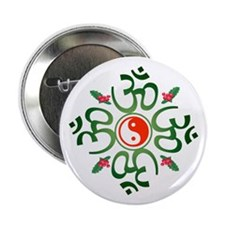 "Zen Christmas Wreath 2.25"" Button"